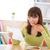 młoda · kobieta · jedzenie · pizza · młoda · dziewczyna · uśmiechnięty - zdjęcia stock © szefei