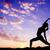 mulher · ioga · pôr · do · sol · sensual · fitness - foto stock © szefei