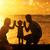 silhueta · família · ao · ar · livre · praia · pôr · do · sol · família · feliz - foto stock © szefei
