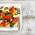 healthy fresh salad and fish on plate with rustic white wooden b stock photo © tab62