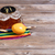 beer with party objects on rustic wooden table stock photo © tab62