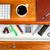 siyah · kahve · bilgisayar · klavye · okul · ofis · üst · görmek - stok fotoğraf © tab62