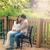 feliz · papá · embarazadas · esposa · escuchar - foto stock © tab62