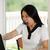 maison · femme · s'asseoir · exercice · corps - photo stock © tab62
