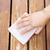 female hand sanding cedar wood deck stock photo © tab62