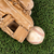 close up overhead view of old leather baseball and mitt on grass stock photo © tab62