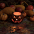 glowing pumpkin decoration and autumn gourds in dark background stock photo © tab62