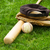 old baseball equipment on grass field stock photo © tab62