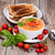 fresh bowl of creamy tomato soup and sandwich with basil leaves stock photo © tab62