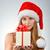 genç · kadın · noel · baba · güzel · şapka · hediye · kutusu - stok fotoğraf © taden