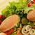 lezzetli · hamburger · iştah · açıcı · ahşap · plaka · ekmek - stok fotoğraf © taden