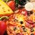 smakelijk · pizza · plaat · houten · voedsel - stockfoto © taden