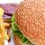 sabroso · hamburguesa · apetitoso · papas · fritas · blanco · placa - foto stock © taden