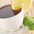 フル · カップ · 茶 · レモン · 木製 · ナプキン - ストックフォト © taden
