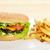 lezzetli · hamburger · iştah · açıcı · patates · kızartması · beyaz · plaka - stok fotoğraf © taden