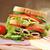 вкусный · сэндвич · свежие · деревянный · стол · таблице · пшеницы - Сток-фото © taden