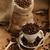 grãos · de · café · marrom · pano · comida · colher - foto stock © taden