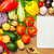 fresh vegetables on wooden background and notebook stock photo © taiga