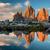 tre cime di lavaredo with reflection in lake at sundown dolomit stock photo © taiga