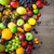 mix of fresh fruits with water drops on dark wooden table stock photo © taiga