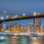 panoramic view of brooklyn bridge at night with lights new york stock photo © taiga