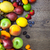 mixed fruits on the wooden table with water drops stock photo © taiga