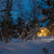 winter blue night landscape warm wooden house stock photo © taiga
