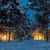 wintersnowfall night small wooden houses with warm light stock photo © taiga