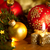 christmas card with golden candle balls pine tree lights and stock photo © taiga