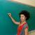 estudante · escrita · lousa · africano · americano · sala · de · aula · verde - foto stock © tangducminh