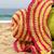 chapéu · de · palha · conchas · areia · praia · azul · água - foto stock © tannjuska
