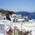 terasz · étterem · Santorini · Görögország · kilátás · vulkán - stock fotó © tannjuska