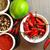 tarka · zöldségek · fa · asztal · szett · gyógynövények · fűszer - stock fotó © tannjuska