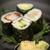 sushi maki rolls with salmon avocado and prawns stock photo © tarczas