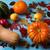 sonbahar · hasat · mavi · karpuzu · elma · ahşap · masa - stok fotoğraf © tasipas