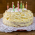 birthday cake with candles on wooden background stock photo © tasipas