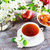 cup of tea on wooden table and apple jam stock photo © tasipas