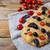 italian bread focaccia with olive and cherry tomato copy space stock photo © tasipas