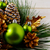 christmas green ornaments and golden decorated pine cones stock photo © tasipas