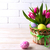 Pâques · table · oeufs · rose · tulipes · pâle - photo stock © tasipas