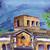 aquarela · cityscape · velho · edifícios · tarde · casa - foto stock © tatiana3337