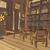 quarto · marrom · cadeiras · prateleiras · para · livros · ilustração · casa - foto stock © tawng