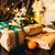 hermosa · regalos · mentir · mesa · de · madera · nieve · fondo - foto stock © tekso