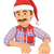 3d handyman pointing down with a santa claus hat blank space stock photo © texelart