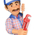 3d plumber with a pipe wrench pointing aside blank space stock photo © texelart