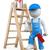 pittore · piedi · scala · costruzione · muro · design - foto d'archivio © texelart