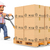 3d courier delivery man pushing a pallet truck with boxes stock photo © texelart