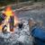 láb · tábortűz · személy · alkonyat · kempingezés · erdő - stock fotó © thp