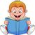 a cartoon boy reading a book stock photo © tigatelu