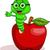 cute · rups · appel · illustratie · gelukkig · groene - stockfoto © tigatelu